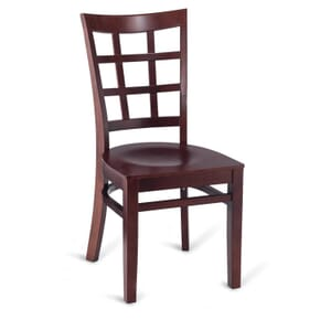 Dark Mahogany Wood Lattice-Back Restaurant Chair with Veneer Seat