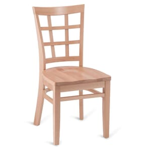 Natural Wood Lattice-Back Restaurant Chair with Solid Beechwood Seat
