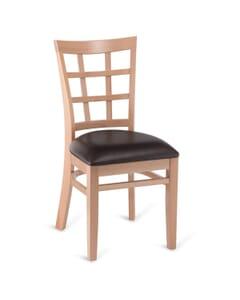 Natural Wood Lattice-Back Restaurant Chair
