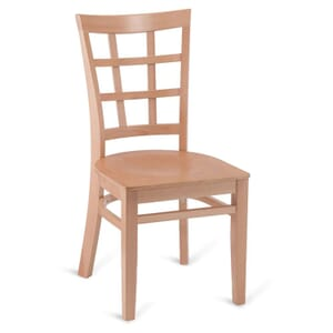 Natural Wood Lattice-Back Restaurant Chair with Veneer Seat