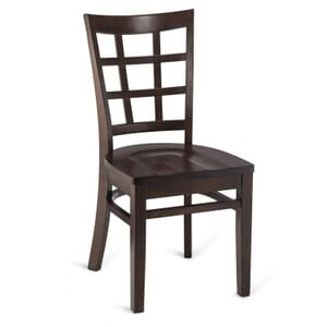 Walnut Wood Lattice-Back Restaurant Chair with Solid Beechwood Seat