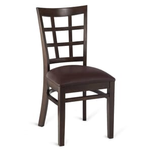 Walnut Wood Lattice-Back Restaurant Chair with Upholstered Seat