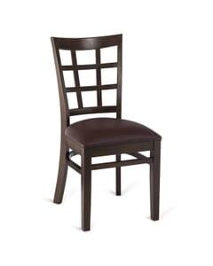 Walnut Wood Lattice-Back Restaurant Chair