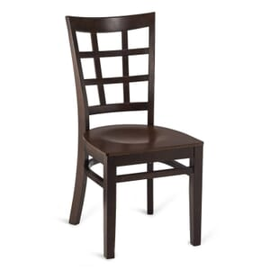 Walnut Wood Lattice-Back Restaurant Chair with Veneer Seat