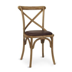 Natural Oak Wood Cross-Back Commercial Chair with Upholstered Seat