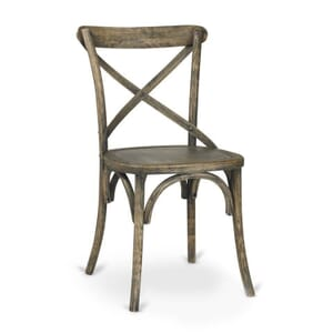 Antique Grey Oak Wood Cross-Back Commercial Chair