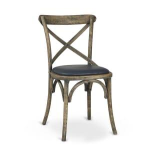 Antique Grey Oak Wood Cross-Back Commercial Chair