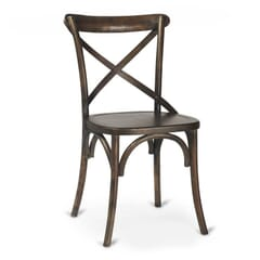Antique Walnut Wood Cross-Back Commercial Chair