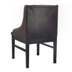 Black Wood Bentley Restaurant Chair with Brown Vinyl and Naillhead Trim