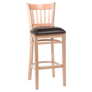 Natural Wood Vertical-Back Commercial Bar Stool with Upholstered Seat