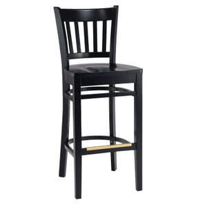 Black Wood Vertical-Back Commercial Bar Stool with Solid Beechwood Seat (front)