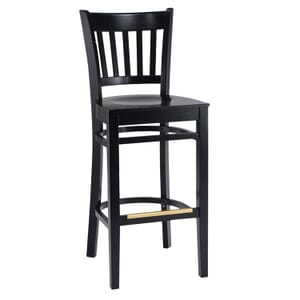 Black Wood Vertical-Back Commercial Bar Stool with Veneer Seat (front)