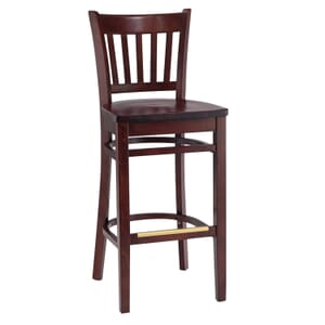 Dark Mahogany Wood Vertical-Back Commercial Bar Stool with Solid Beechwood Seat (front)