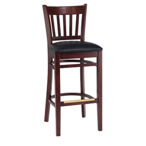 Dark Mahogany Wood Vertical-Back Commercial Bar Stool with Upholstered Seat (front)