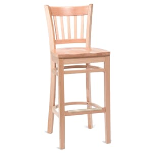 Natural Wood Vertical-Back Commercial Bar Stool with Solid Beechwood Seat (front)