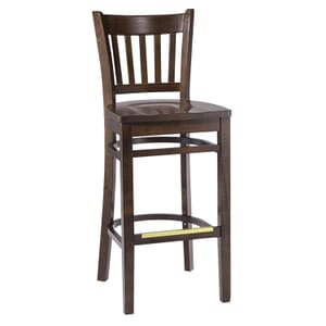 Walnut Wood Vertical-Back Commercial Bar Stool with Solid Beechwood Seat (front)