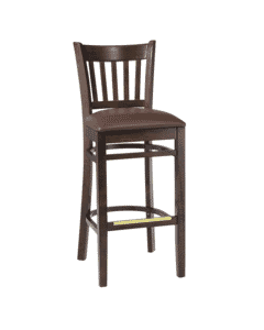 Walnut Wood Vertical-Back Commercial Bar Stool with Upholstered Seat (front)