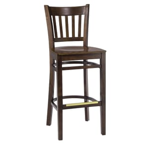 Walnut Wood Vertical-Back Commercial Bar Stool with Veneer Seat (front)