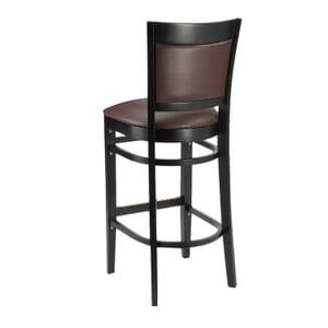 Black Wood Easton Restaurant Bar Stool with Burgundy Vinyl Seat & Back