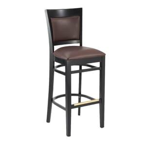 Black Wood Easton Restaurant Bar Stool with Burgundy Vinyl Seat & Back (front)