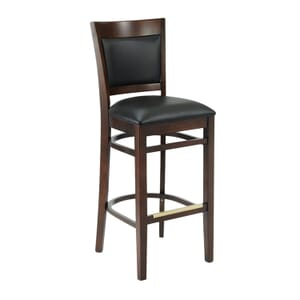 Walnut Wood Easton Commercial Bar Stool with Black Vinyl Seat & Back (front)