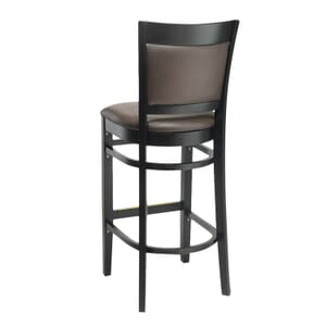 Black Wood Finish Easton Commercial Bar Stool with Upholstered Seat & Back