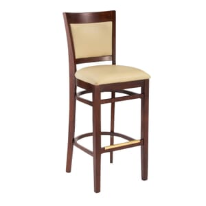 Dark Mahogany Wood Finish Easton Commercial Bar Stool with Upholstered Seat & Back (front)