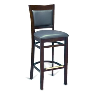 Walnut Wood Finish Easton Commercial Bar Stool with Upholstered Seat & Back (front)