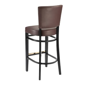 Fully Upholstered Bennett Restaurant Bar Stool in Black with Burgundy Vinyl