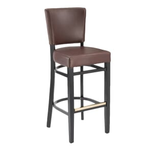 Dark Mahogany Wood Bennett Restaurant Bar Stool with Black Vinyl Seat & Back (Back)