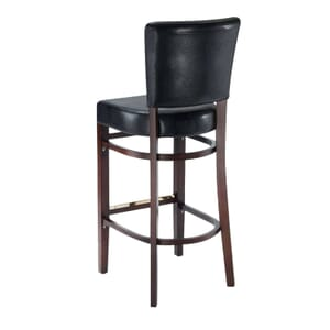 Fully Upholstered Bennett Restaurant Bar Stool in Walnut with Brown Vinyl