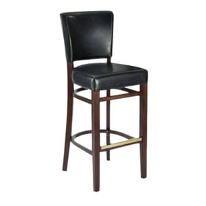 Fully Upholstered Walnut Wood Bennett Restaurant Bar Stool with Brown Vinyl (front)