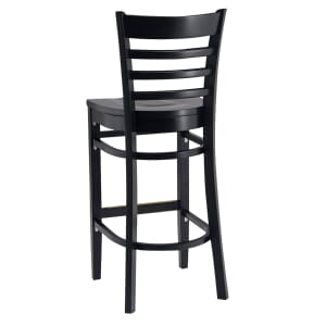 Black Wood Ladderback Commercial Bar Stool