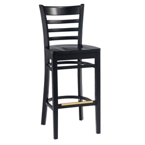 Black Wood Ladderback Commercial Bar Stool with Solid Beechwood Seat (front)