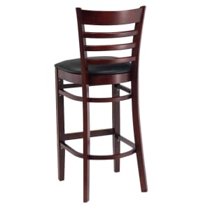 Dark Mahogany Wood Ladderback Commercial Bar Stool