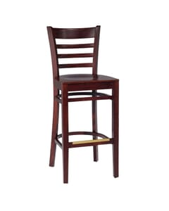 Dark Mahogany Wood Ladderback Commercial Bar Stool with Veneer Seat (front)