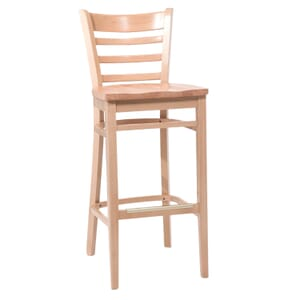 Natural Wood Ladderback Commercial Bar Stool with Solid Beechwood Seat (front)