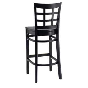 Black Wood Lattice-Back Restaurant Bar Stool