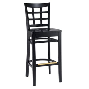 Black Wood Lattice-Back Restaurant Bar Stool with Solid Beechwood Seat (front)