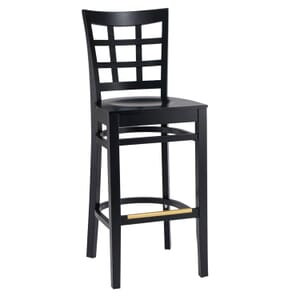 Black Wood Lattice-Back Restaurant Bar Stool with Veneer Seat (front)