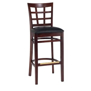 Dark Mahogany Wood Lattice-Back Restaurant Bar Stool with Upholstered Seat (front)