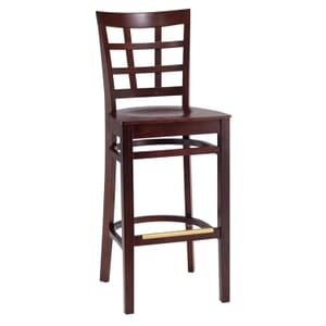 Dark Mahogany Wood Lattice-Back Restaurant Bar Stool with Veneer Seat (front)