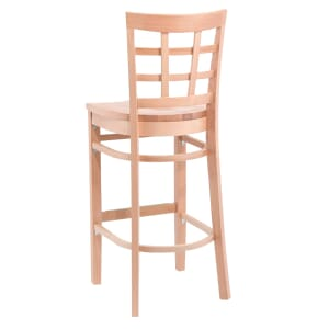 Natural Wood Lattice-Back Restaurant Bar Stool
