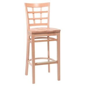 Natural Wood Lattice-Back Restaurant Bar Stool with Solid Beechwood Seat (front)
