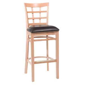 Natural Wood Lattice-Back Restaurant Bar Stool with Upholstered Seat (front)