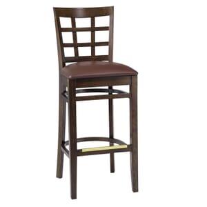 Walnut Wood Lattice-Back Restaurant Bar Stool with Upholstered Seat (front)