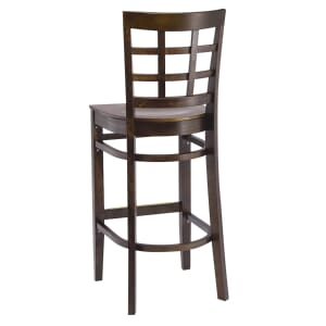 Walnut Wood Lattice-Back Restaurant Bar Stool