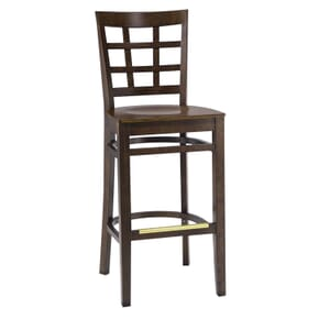 Walnut Wood Lattice-Back Restaurant Bar Stool with Veneer Seat (front)