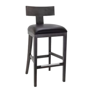 Espresso Brown T-Back Bar Stool With Upholstered Seat (Front)