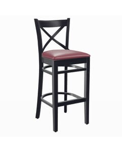 Black Wood Farmhouse Cross-Back Commercial Bar Stool with Upholstered Seat (Front)